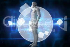 Composite image of full length of digital gray 3d man