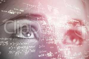 Composite image of formulas against black background