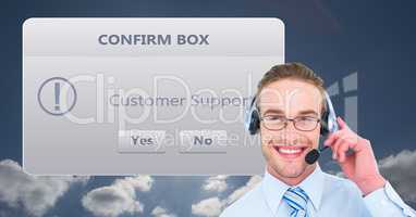 Happy customer support executive with dialog box