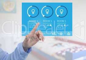 Hand touching a Home automation system lighting App Interface