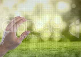Hand touching  air with green nature technology grid