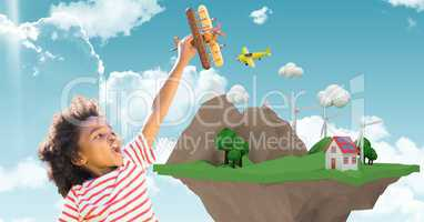Happy child playing with plane by low poly cliff