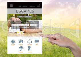 Hand Touching Escape holiday break App Interface