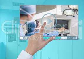 Hand touching Medical Operation Video Player App Interface