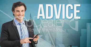 Smiling businessman using mobile phone by advice text