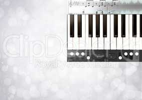 Piano keys with notes and effects App Interface