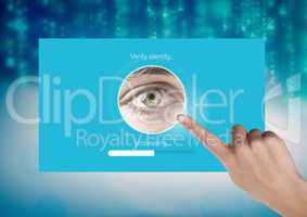 Hand Touching Identity eye Verify App Interface