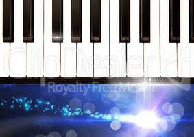 Piano keys with sparkling lights