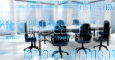 Blue binary code against blurry office