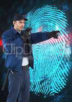 Security guard using radio while pointing away against finger print on screen