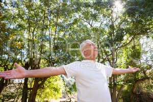 Senior man with arms outstretched in the forest