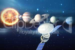 Composite image of vector image of�3d solar satellite