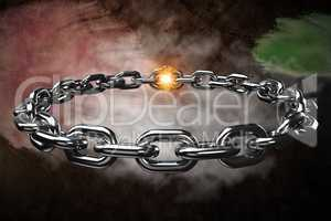 Composite image of 3d image of circular silver chain