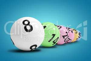 Composite image of line of lottery balls