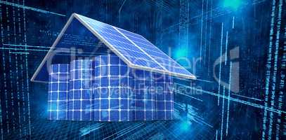 Composite image of 3d image of house made from solar panels and cells