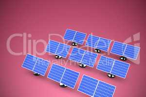 Composite image of image of 3d blue solar panel arranged in rows