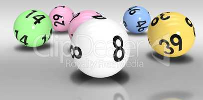 Composite image of colourful lottery balls