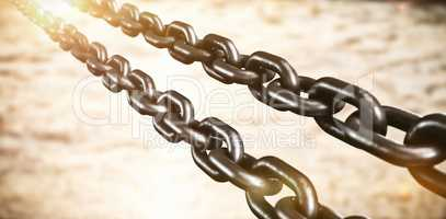 Composite image of 3d metallic chains