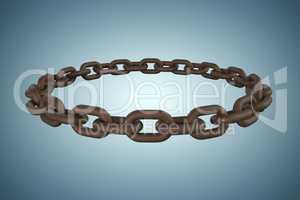 Composite image of 3d image of rusty metallic circular chain