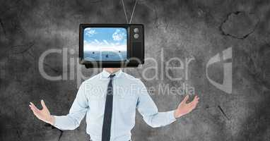 TV on businessman's head
