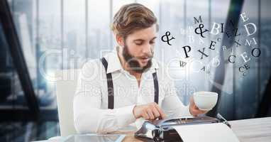 Hippie businessman using typewriter while letters flying in office