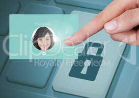 Hand Touching Identity Verify security App Interface