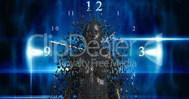 Digital composite image of 3d female over clock
