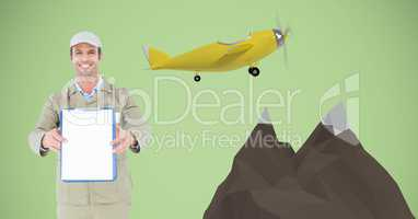 Happy delivery man showing clipboard by 3d mountains and airplane