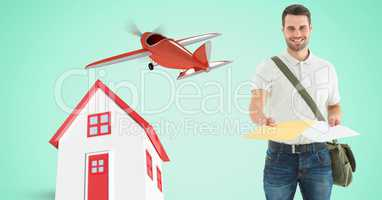 Delivery man giving parcel by house and airplane