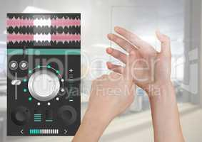 Hand Touching Glass Screen and Sound Music and Audio production engineering equalizer App Interface