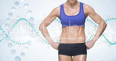 Midsection of masculine woman in sports wear against DNA structure