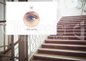 Identity eye Verify App Interface on stairs