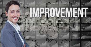 Smiling businesswoman by improvement text