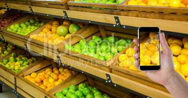 Hand photographing fruits and vegetables on smart phone in store