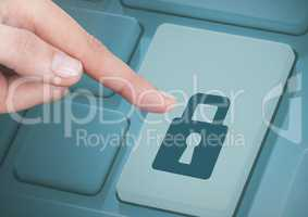 Hand Touching security key button on keyboard