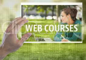 Hand touching a Web courses App Interface