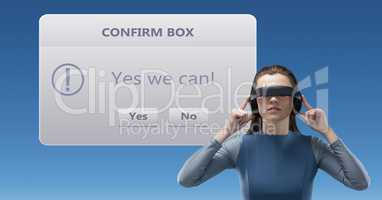 Woman using VR headphones by confirm box