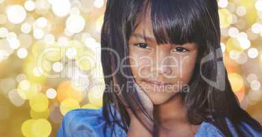 Close-up of girl with long hair over bokeh