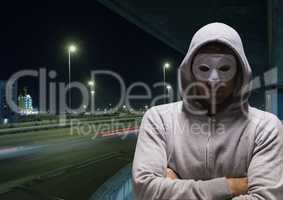 Criminal man with night road