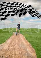 businesswoman at the end of the road with the checker flag in the start of the same road.