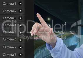 Hand Touching Security Camera App Interface Road Carpark