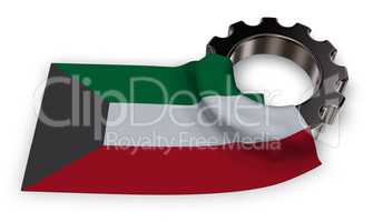 gear wheel and flag of kuwait - 3d rendering