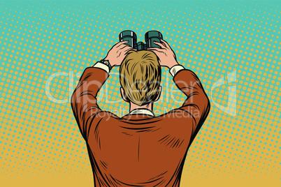 Lookout businessman with binoculars
