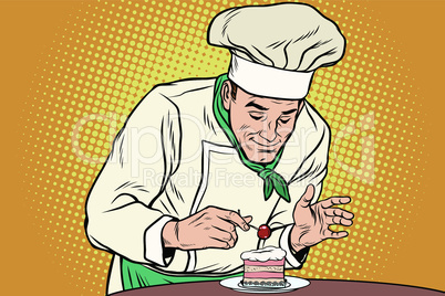 The chef prepares a sweet dessert
