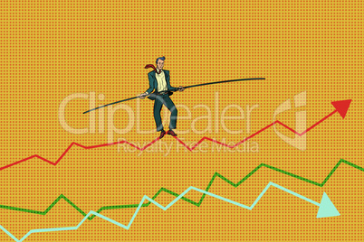 businessman tightrope Walke, schedule of sales