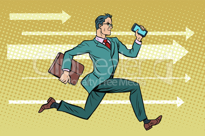 Businessman with a smartphone running fast forward