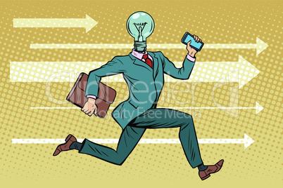 Businessman light bulb runs, concept ideas and brainstorming