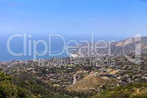 Coastline of Laguna Beach, California with the city and beach in