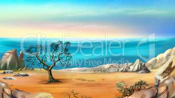 Rocky Shore with Lonely Tree Against Blue Sky at Dawn