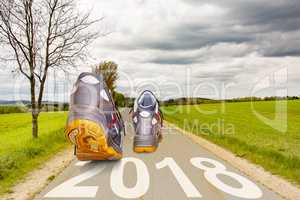 Shoes running on the street with year 2018
